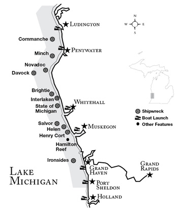 West Michigan  Underwater Preserve map